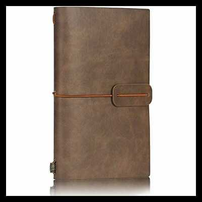 LEATHER Travel Journal Notebook Lined Vintage Retro Soft Cover Refillable Notepa