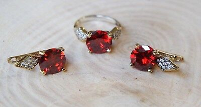 Turkish Handmade Jewelry Sterling Silver 925 Ruby Ring Earring Set 8.5 MD