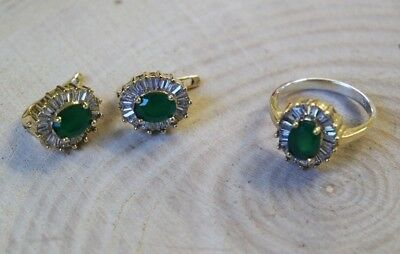 Turkish Handmade Jewelry Sterling Silver 925 Emerald Ring Earring Set 7.5 MD