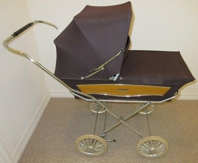 Vintage English Raleigh Baby Doll Carriage, Brown and Chrome, Great Condition
