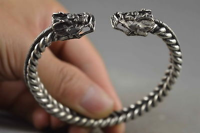 Collectable Chinese Old Miao Silver Carve Dragon Head Souvenir Tibet Bracelet