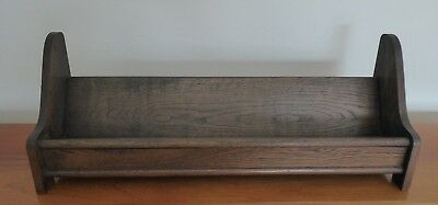 ANTIQUE 1890s OAK WOOD TROUGH BOOKSHELF~TABLE-TOP BOOK CRADLE RACK STAND HOLDER