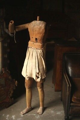 5ft tall 18th century Italian carved wooden articulated lay figure