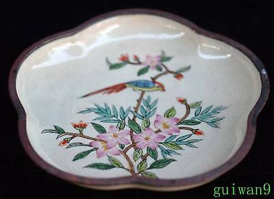 Collectable Old Chinese Cloisonne Paint Flower Bird Ancient King Usable Plates