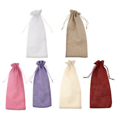 Baoblaze Burlap Wine Bottle Cover Bags with Drawstring Wedding Gift Supplies
