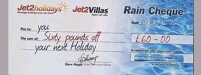 Jet2Holidays £60 Rain Cheque voucher Valid until 31st January 2019
