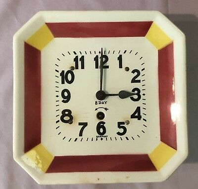 1930's Porcelain Ceramic Kitchen 8 Day Wall Clock - Germany