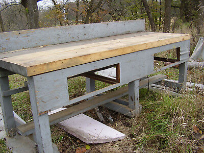 Vintage Wooden Workbench, Factory Used. 8Ft. Long, 2 Drawers, Unique, No Reserve