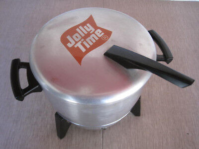 """Vintage Jolly Time electric """"Mirro-Matic"""" aluminum popcorn popper with booklet"""