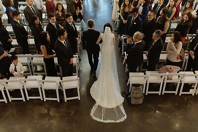 Cathedral Length Ivory Wedding Veil One Tier Lace Appliqué Edge