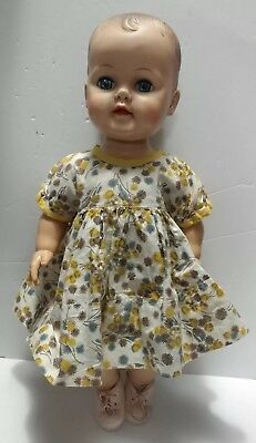 """Vintage 60s Eegee 19"""" Doll Sleep Blue Eyes Molded Hair Jointed Dress Shoes"""