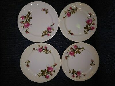 "4 Royal Rose Fine China of Japan 7-1/2"" Salad Plate Moss Roses & Scalloped Gold"