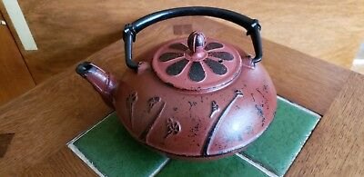 Vintage Japanese Tetsubin Cast Iron Teapot Signed. Unusual color