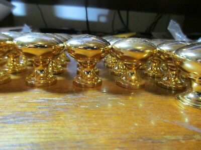 "4 Knobs Round Pulls Solid Brass Set Cabinet Handle Used 30mm 1 1/8"" Gold Tone"