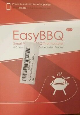 NEW Easy BBQ Pro Smart Wireless BBQ Thermometer 6 Channels Color-Coded Probes