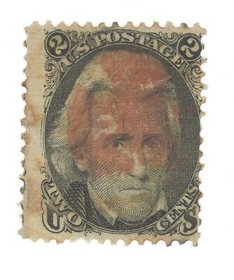 Scott 93 Early US Stamp 2c Jackson ...1867..Deep Red Cancel   F Grill