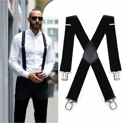 120x5CM Black Adjustable Men Suspender Straps Four Clips Trousers StrapsWQ