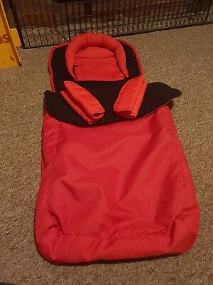 Red Pram Foot Muff With Head Support