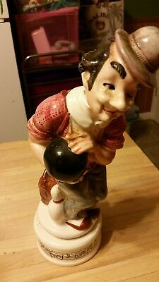 Musical Decanter Box Porcelain Figure Man With Bowling Ball Plays How Dry I Am
