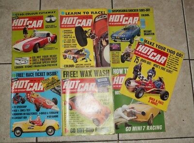 7 issues of HOT CAR magazine 1968 / 69.