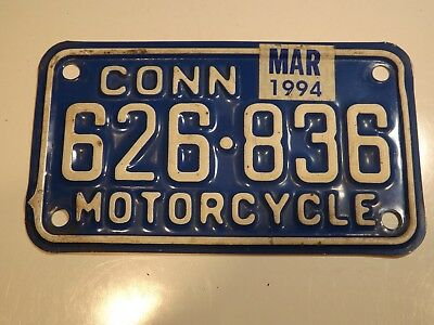 Connecticut Motorcycle License Plate  # 626 836 -- March 1994 Expiration