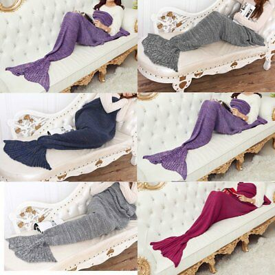 Pashmina-Like Knitted Warm Mermaid Tail Blanket 140*70/180*90CM Wrap Coverlet WQ