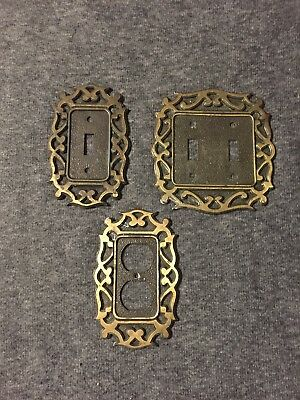 3 Vintage National Lock  Brass Light Switch Plate Covers  & Outlet Cover