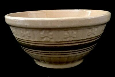 Vintage Yellow Ware Mixing Bowl Embossed Flowers Brown Bands Stoneware