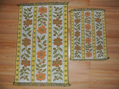 2 Vintage CANNON ROYAL FAMILY TOWELS BATH & HAND MOD 70 RETRO ORANGE GREEN GOLD