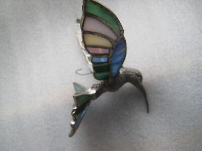 """Vintage 5 1/2"""" Pewter And Stained Glass Hummingbird Ornament"""
