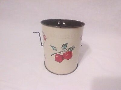 Vintage Bromwell's 3 Cup Tin Flour Sifter White Red Apple (READ LISTING)*^@@@f3