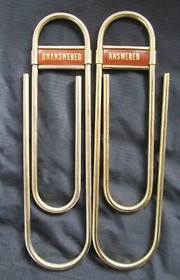 Vintage Large Brass Oversize Paper Clips Weight Pair Desk Accessory