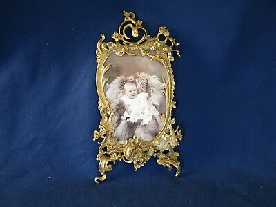 PICTURE FRAME Antique Victorian Cast Bronze and 1900 Photograph Very Good Cond.