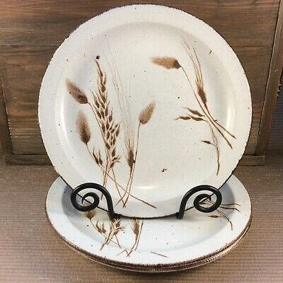 "Wedgwood Midwinter Stonehenge Wild Oats Set Of 3 Dinner Plates 10 1/4"" England"
