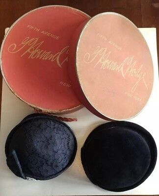 Vintage Hat Boxe Pink G Howard Hodge Fifth Avenue New York Two Hats Strouss Used