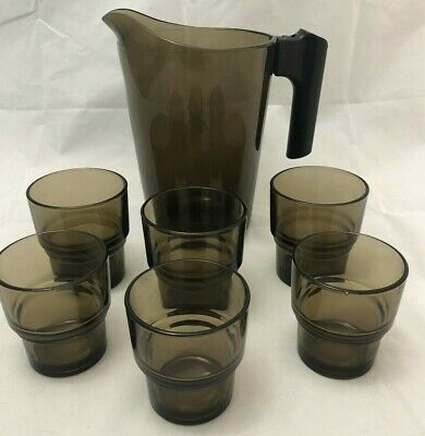 Set of (3) VINTAGE VERECO Smokey Glass Tumblers/Latte Glasses. Great Condition.