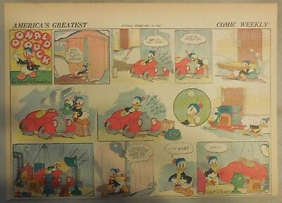 Donald Duck Sunday Page by Walt Disney from 2/18/1940 Half Page Size