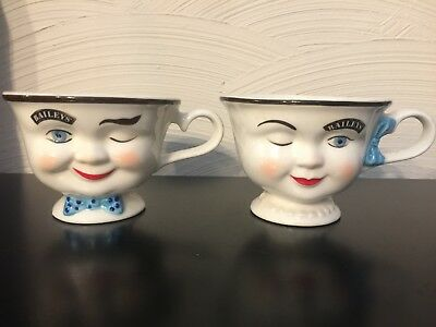 Vintage Cups Mugs Bailey's Irish Cream His Hers Mr Mrs Yum Winking Face