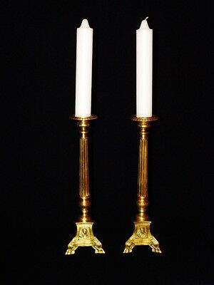 Superb Pair Of French Gothic Religious Altar Candelabras/Candlesticks 19Th. C.
