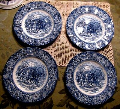 """Set of 4 Liberty Blue Washington at Valley Forge 8 1/2 """" Luncheon Plates Mint"""