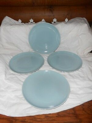 """Russel Wright Iroquois Casual China Ice Blue 10"""" Dinner Plates Mid Century Mod"""