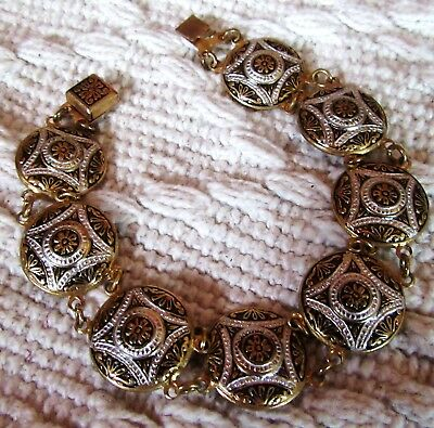 Vintage Damascene Toledo Spain Disc Bracelet
