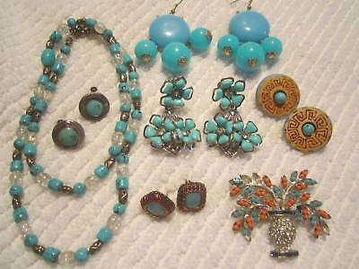 Beautiful Turquoise Lot:vintage/now necklace,earrings pin-glass,turquoise,rstone