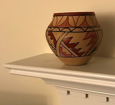 Vintage Native American Hand Crafted Painted Clay Pottery Jar ~ Aged Appearance