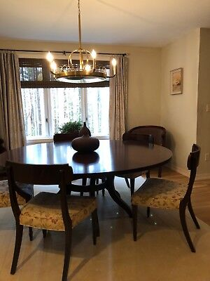 Ethan Allen Mahogany Colored Round Center Post 72 Inch Dining Table