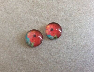 10mm,Red Hibiscus Flower Cabochons - Glass Domed, 2pcs~Jewellery Making