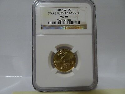 2012 W - $5 Star Spangled Banner Ngc Ms70