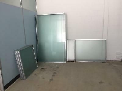Package of 11 glass partition panels in aluminium frames