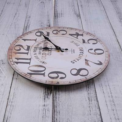 1PC Antique Vintage Round Retro European Style Wooden Wall Decorative Clock