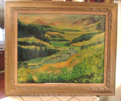 VINTAGE CALIFORNIA ARTIST Abstract  Landscape Oil Canvas Signed MAGGIE